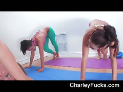 So filthy three slutty chicks in short gym gets phallus