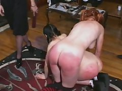 Raunchy slaves get spanked