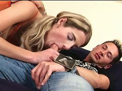 Slim blond chick's couch coitus