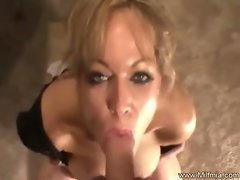 Mum mia gets a gorgeous point of view fuck with facial