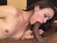 Luscious transsexual banged by black man