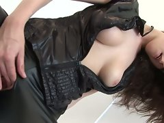 Claudia jazz rocks a sexual leather outift