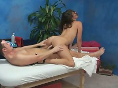 Sensual allie strokes and screws in the massage room