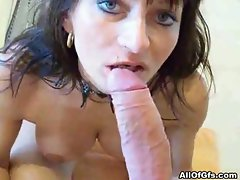 Dark haired has her cunt filled with fresh sperm