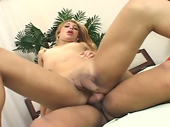 Attractive latino transsexual barebacked