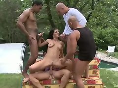 Lellou's interracial backyard gang-bang