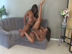 Skyy black screws a friend with a strapon