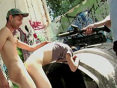 Outdoor bum banging and stroking
