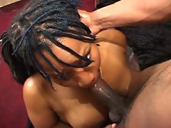 Slutty ebony deepthroats ebony pecker then rides it