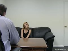 Wild blondie gets a prick in backroom casting video.