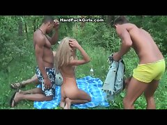 3 chaps 1 tempting blonde shagged brutal in the forest