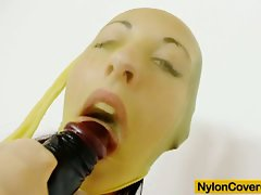 Claire nylon mask and huge toy