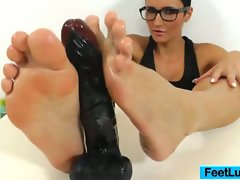 Dark haired doll gabrielle gucci's luscious feet fetish