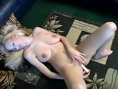 Top heavy blond slutty girl rubber toy masturbation