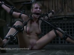 Strict bondage in the barn for this lewd vixen