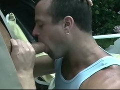 Gay cop gets and gives a cock sucking