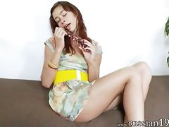 Rus seductive teen using huge glass toy