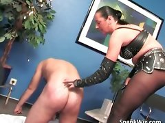 Chesty dark haired spanks chaps big butt brutal part6