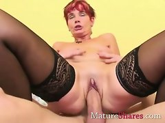 Redhead experienced does bum