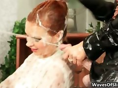 Filthy redhead slutty girl going wild banging part1