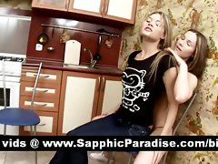 Charming tempting blonde lesbians caressing and fingering twat and having lezzy love