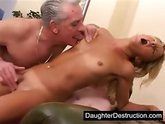 Daddy stuck his dick in my mouth and vagina