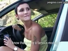 Buxom dark haired mummy vagina stuffed and jizzed on in public