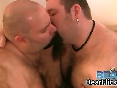 Two heavy gay bears suck off some steam part1