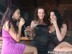 Three nice looking cute chicks in party dress part3