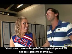 Charming blondie barely legal teen cheerleader talking with her teacher
