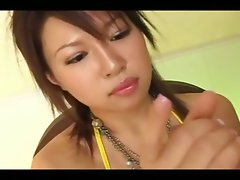 Excellent handjob of alluring seductive japanese barely legal teen