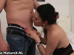 Filthy dark haired mature whore spreading part1