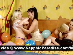 Amazing dark haired and tempting blonde lezzies kissing in a fabulous four way lez orgy