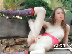 Outdoor vagina teasing with sexual Gloria