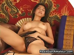Extremely large tits asian stunner dildoing hirsute part3