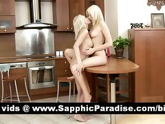 Tempting blondie lesbians toying snatch and having lezzy love in the kitchen