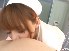 Asian beauteous nurse blows shaft in Point of view