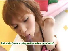 Erika Kurisu amazing Chinese young lady with large melons strokes a enormous dick
