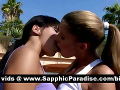 Amazing dark haired and blond lezzies kissing and having lesbian love