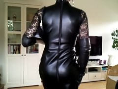 Sissy luscious leather dress 1
