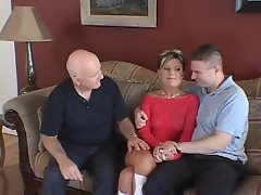 Husband watches feisty blond dirty wife accept pecker on a couch
