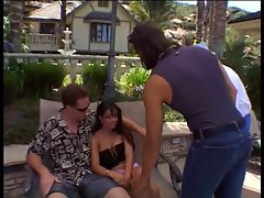 Dark haired gets banged by long haired dude in front of her hubby