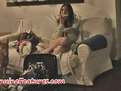 Lezzy pizza party with attractive oil massage