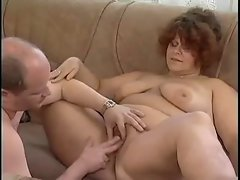 Buxom dark haired eats a prick and bangs after