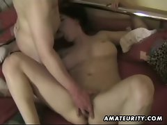 Chesty amateur dirty wife strokes and screws with cumshot