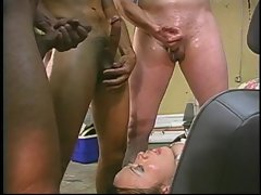 Triple teamed transsexual gets cum caressed off her face by a attractive mature gentleman