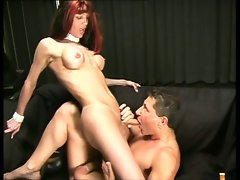 Sensual transsexual is fucked by white cunt in the awesome dark room