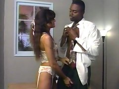 Naughty ebony doctor gives attractive girl in lingerie a full physical