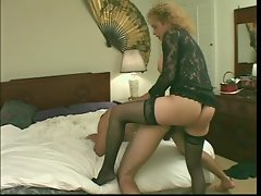 Buxom blond transsexual in sexual lingerie sucks penis & shags ass then gets prat banged