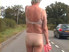 Zoe on the streets in nude undies - most daring flashing!